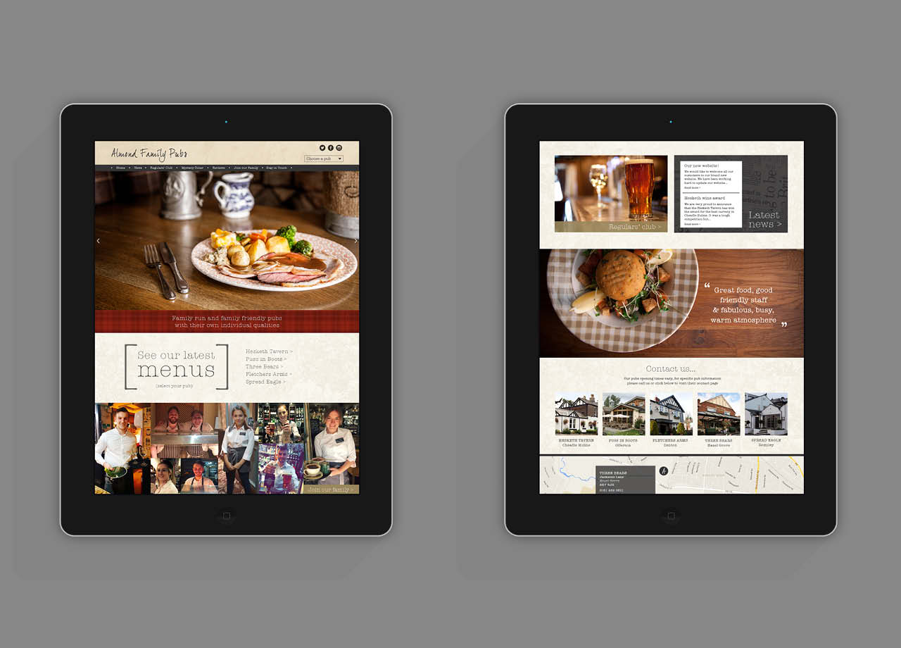 Aldmond Family Pubs Website iPad